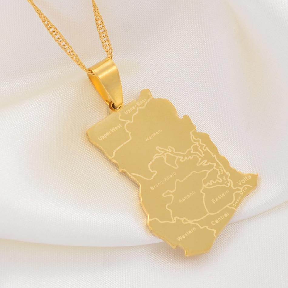 Ожерелья-подвески Anniyo золотого цвета с картой Ганы, очаровательные ювелирные изделия, патриотический подарок Ганы, аксессуары из нержавеющ...