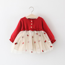 girls long sleeve cute Princess dresses, baby dress, girl clothes,cotton, red, yellow, flower