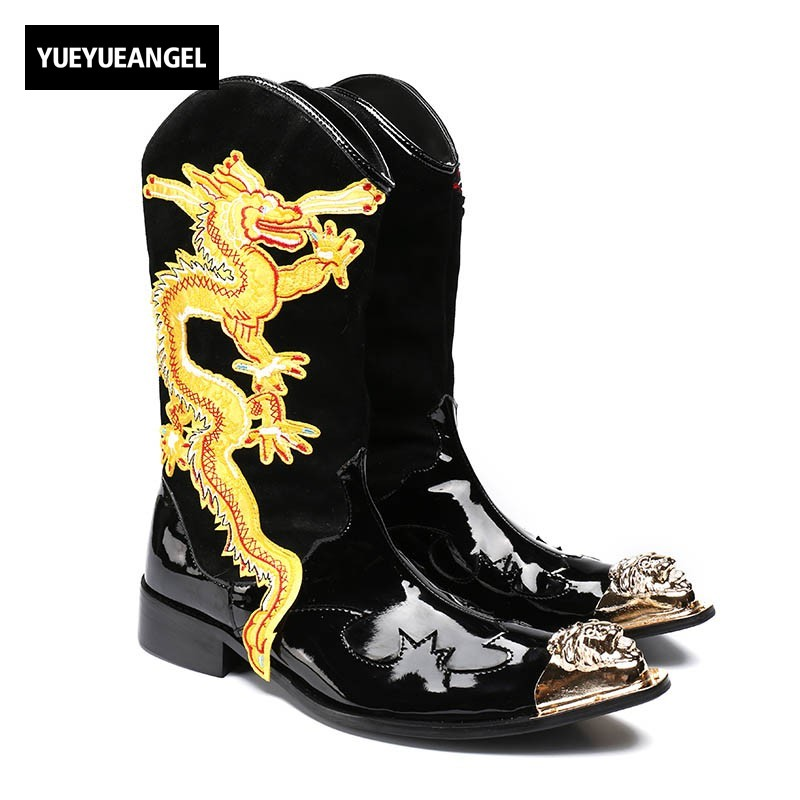 2018 Men Gothic Dragon Genuine Leather Punk Boots Metal Pointed Toes Black Rock Man Shoes High Top Military Riding Martin Botas red men wedding dress shoes pointed toe ankle boots genuine leather botas hombre cowboy military boots metal decor men flats