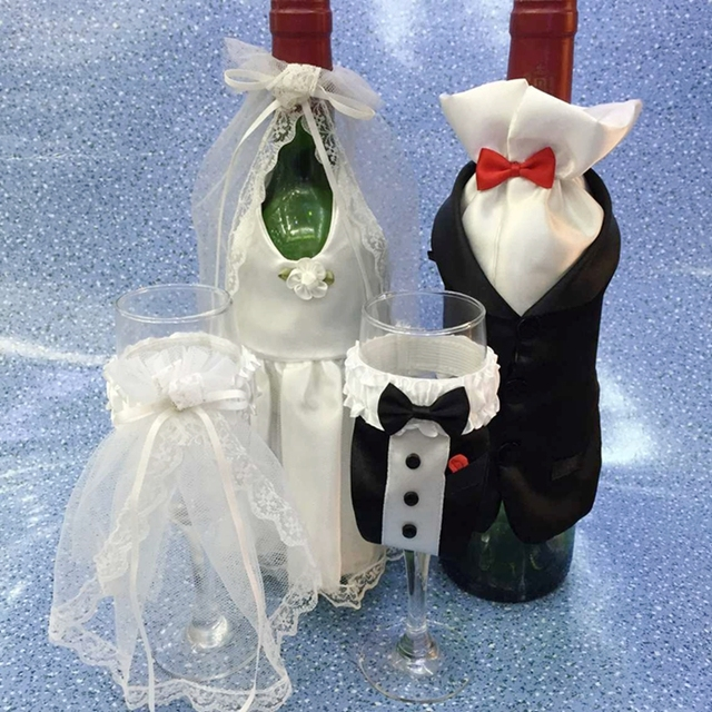 Cammitever Wedding Gift Party Decoration Supplies Wine Bottle Sleeve Cup Bride Groom Full Dress