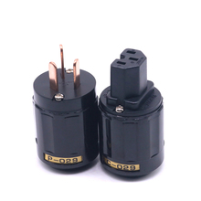 1Pair P-029 + C-029 Rhodium Plated AU AC Power Plug IEC Connector