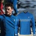 Star Trek За Спок Cospaly Костюм Star Trek Равномерное Синяя Рубашка с Бесплатным Знак Взрослых Мужчин Хеллоуин Костюм Cosplay