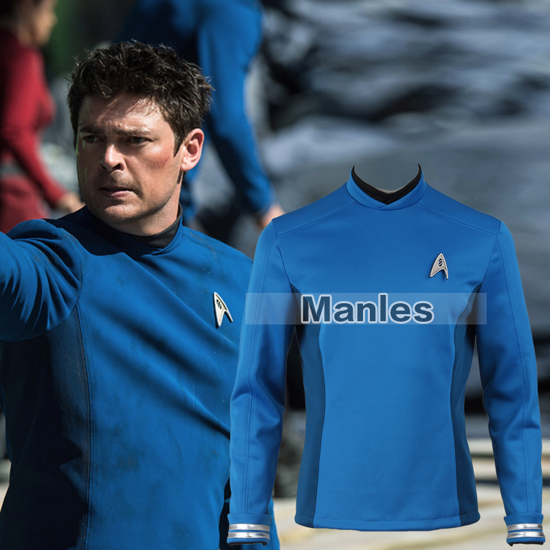 Star Trek Beyond Spock Cospaly Costume Star Trek Uniform Blue Shirt with Free Badge Adult Men Halloween Cosplay Costume