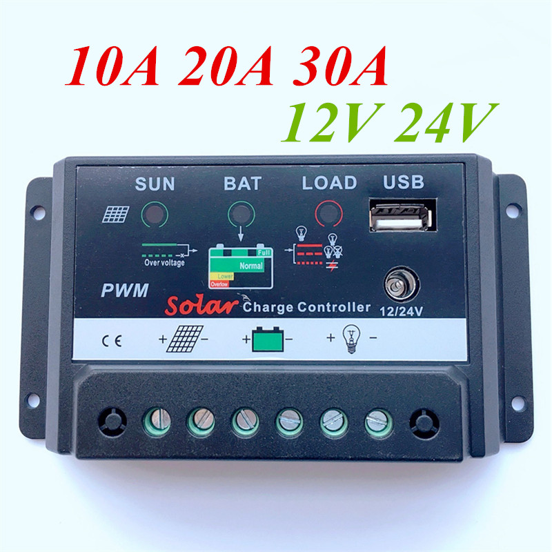 Free Shipping !! Solar Water Pump Controller 12/24V 10A 20A 30A Solar Panel Regulator Charge Controller LED Display 5V USB Port