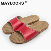 2017 Genuine Leather Ladies Summer Slippers Candy Color Home Slippers Women Indoor Flat Slippers Basic Sandals