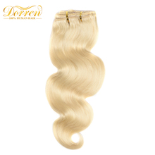 Doreen Clip In Human Hair Extensions 7Pcs/Set Color 613 Light Blond 70G Brazilian Body Wave Remy Hair Can Be Straight And Dyed