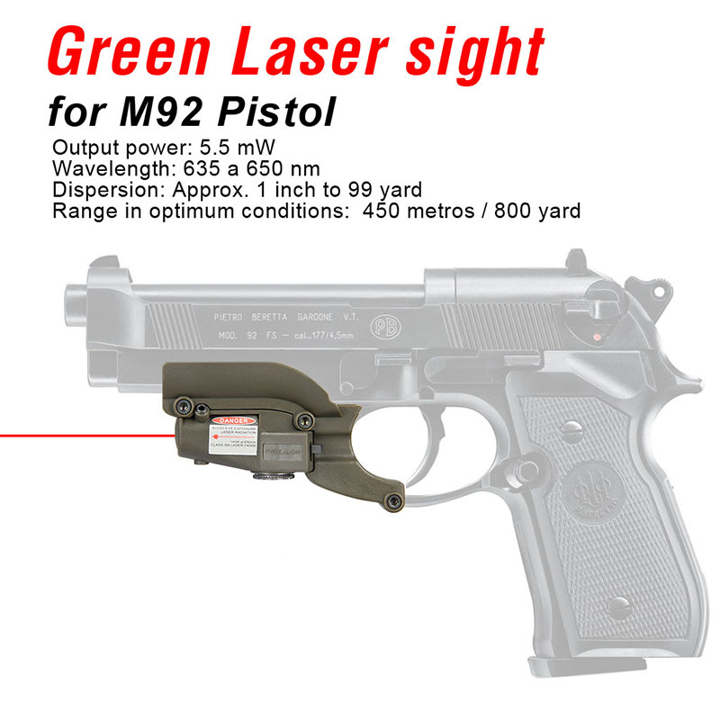 PPT 5mw Red Laser Sight Laser Device Tactical Hunting Laser Pointer For M92 Beretta Model 92 96 M9 Gs20-0020