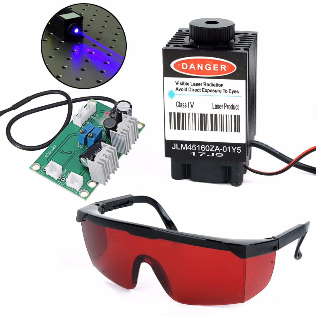 Blue Laser Head Engraving Module Wood Marking Diode With Heat Dissipation Fan + Glasses + Circuit Board For Engraver Mayitr laser head kss 123a