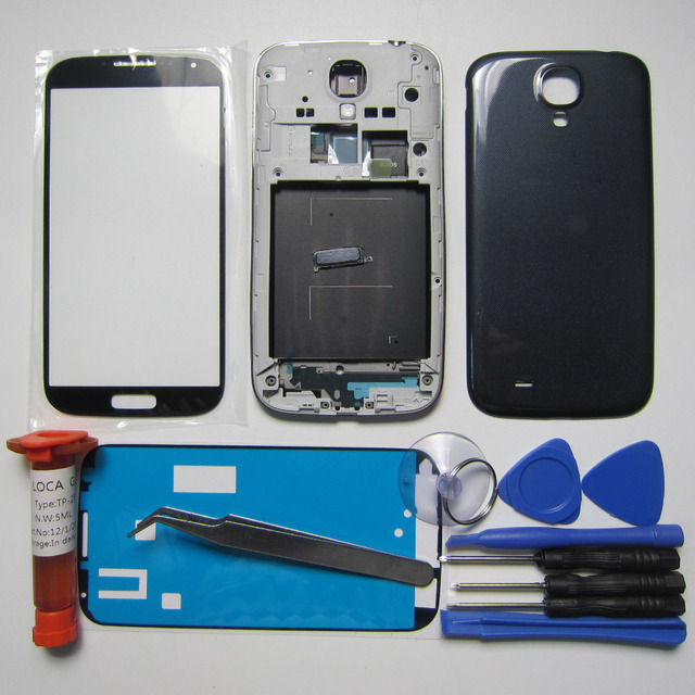 Phone Replacement Parts For Samsung Galaxy S IV i9505 Housing Cover Front Frame/Middle bezel & Rear Case&Outer Glass& LOCA glue