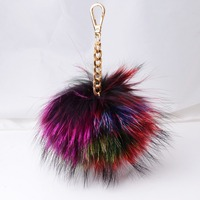 Cute Genuine Leather Rabbit Fur Ball Plush Key Chain For Car Key Ring Bag Pendant Car