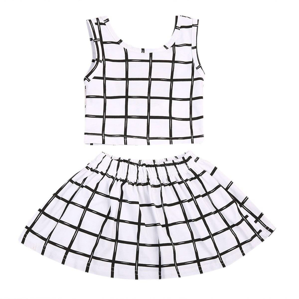 Newborn Baby Girls Clothes Set T-Shirt Tops Shirt + Short Mini Skirt Tutu Dress Plaid Outfits 0-6M 2pcs skirt set 2016 wholesale baby girls cartoon short sleeve tops lace cute tutu skirt for 0 4y baby girl