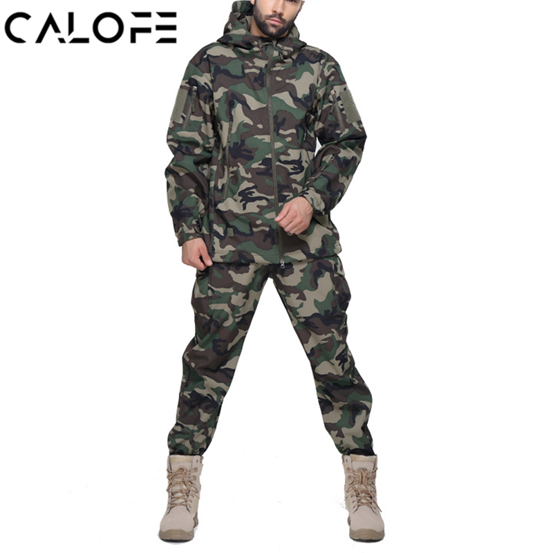 CALOFE Men Outdoor Waterproof Jackets Softshell Hunting Outfit Tactical Camping Hiking Jacket and Pants Plus Size Sport Suit цены онлайн