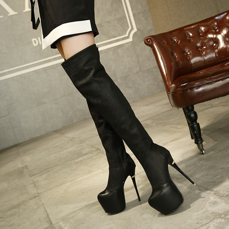 European and American autumn and winter women's boots 15CM super high heel sexy stiletto waterproof platform boots. цена 2017