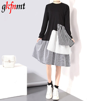 Gkfnmt 2017 Summer Women Vintage Dress Korean Style Long Sleeve Black Ruffles Patchwork Girls Sweet Midi
