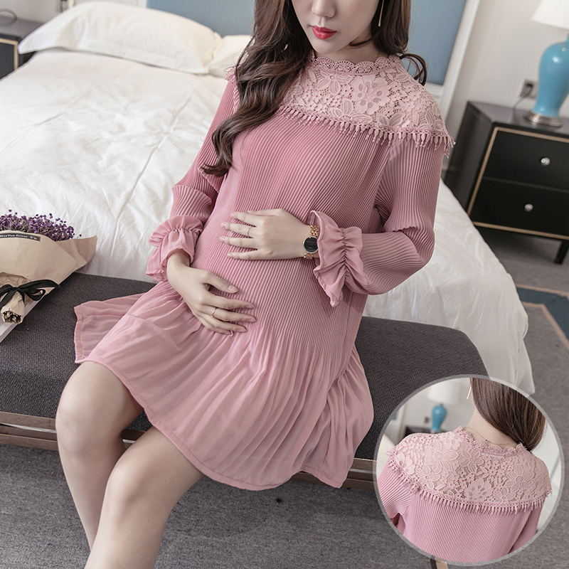2018 spring cute women loose fit pleated chiffon dresses top fashion lace detail maternity mini dresses fancy pregnancy clothing