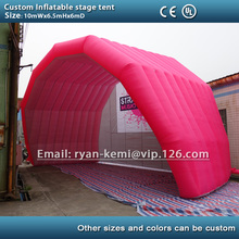 Free shipping pink 10m giant inflatable stage tent cover large inflatable marquee for outdoor events custom tent with logo