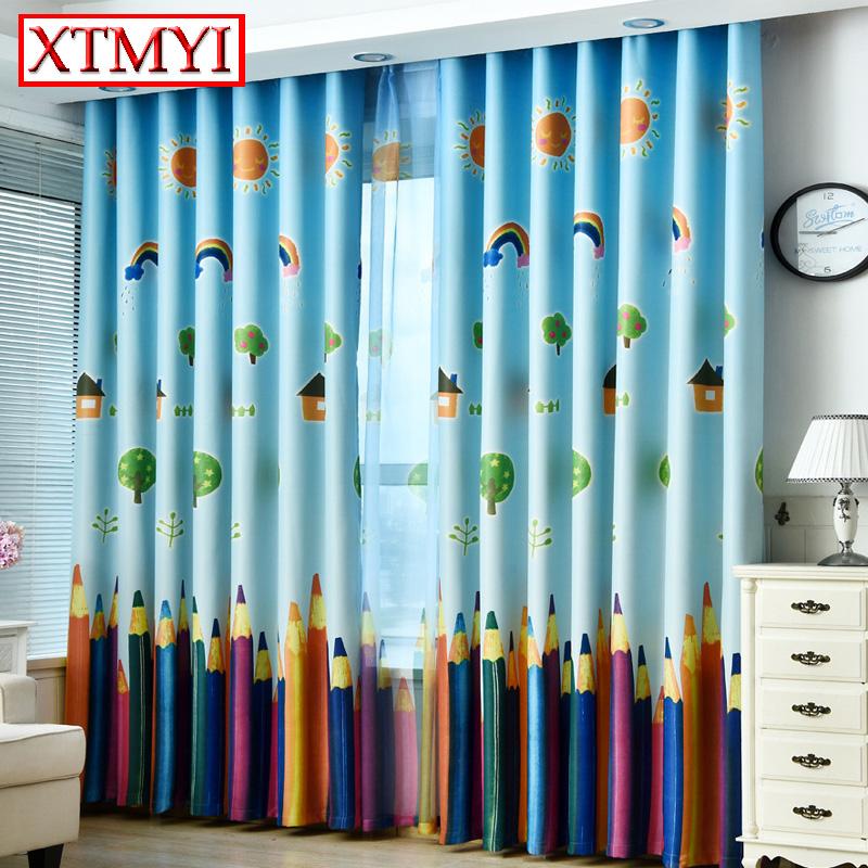 azul moderno de color arco iris de dibujos animados cortinas cortinas para el dormitorio para nios