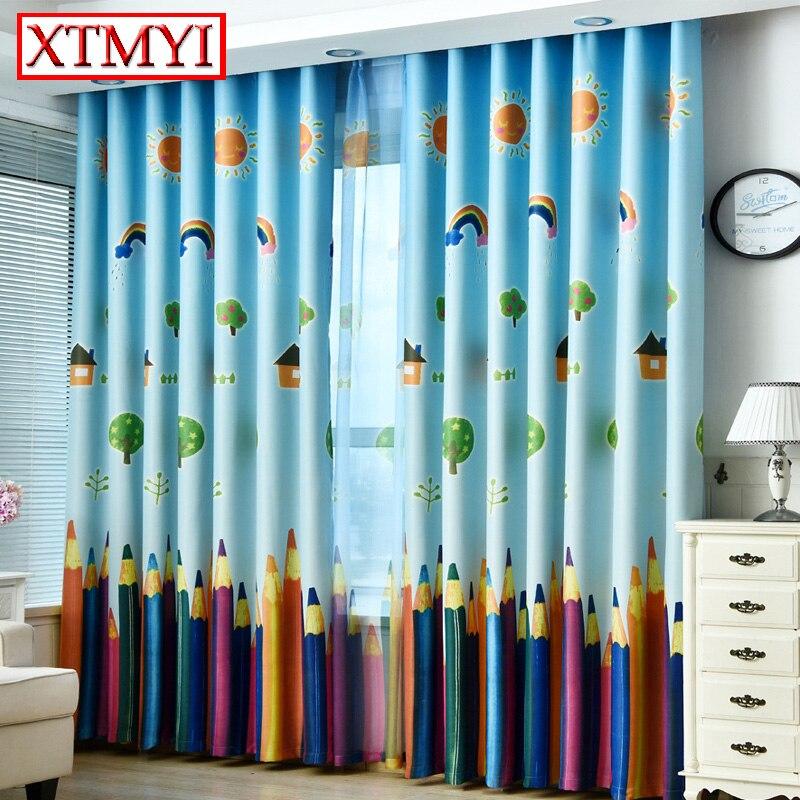 Zilā krāsā mūsdienu karikatūra varavīksnes aptumšošana Aizkari guļamistabas aizkari bērniem Logi aizkari dzīvojamā istabā