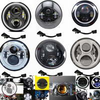 New 7 Inch Motorcycle Projector Moto Hi/Lo LED Light Bulb Headlight For Harley Softail Deluxe Fat Boy FLSTF