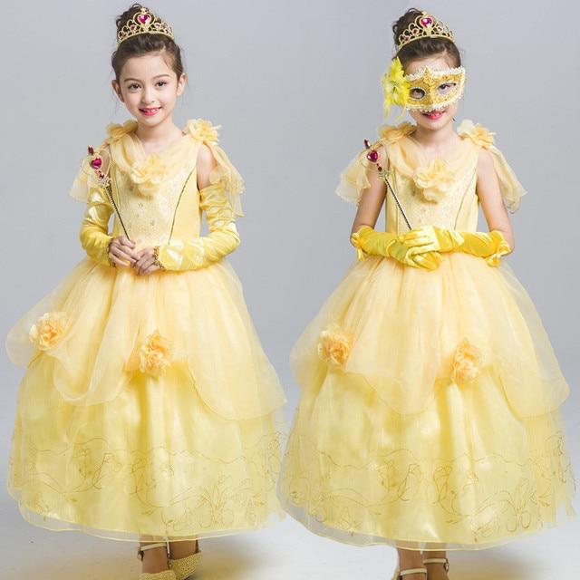 48c89aa290de72 Zomer Meisjes Belle Jurken Prinses Kostuum Party Bloem Vestido Kleding  Schoonheid en het Beest Geel Jurk