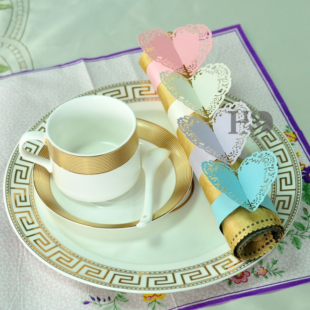 Four colors for you chose 12PCS Porta Guardanapo Hearts Laser Cut Paper Napkin Rings Holders Party Wedding Favors for Decoration
