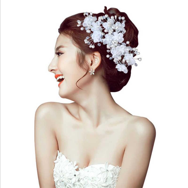 אופנה קוריאנית נשים שיער מסרק הכלה חתונת שיער קליפ עבודת יד פרחי חרוזים קישוט גבירותיי שערות אבזרים