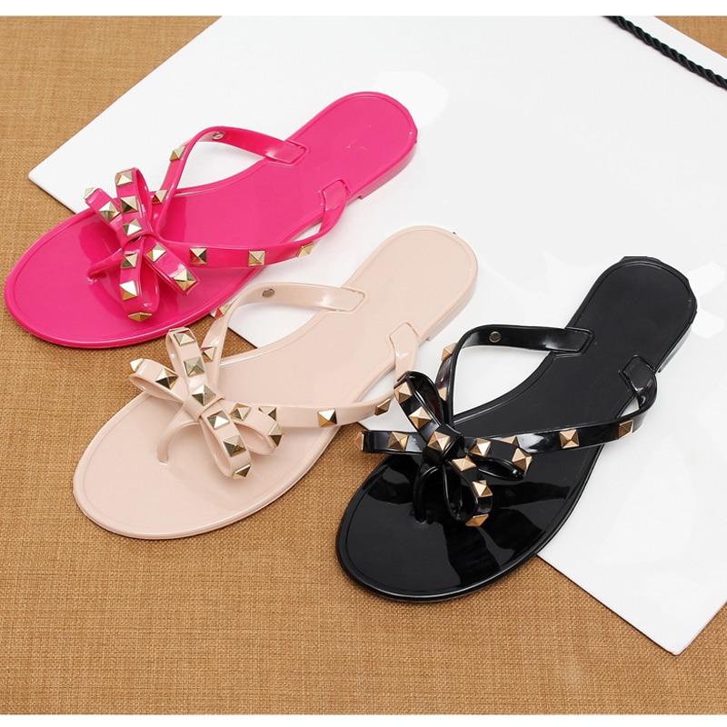 women sandals flat Stud Bow Flip Flops