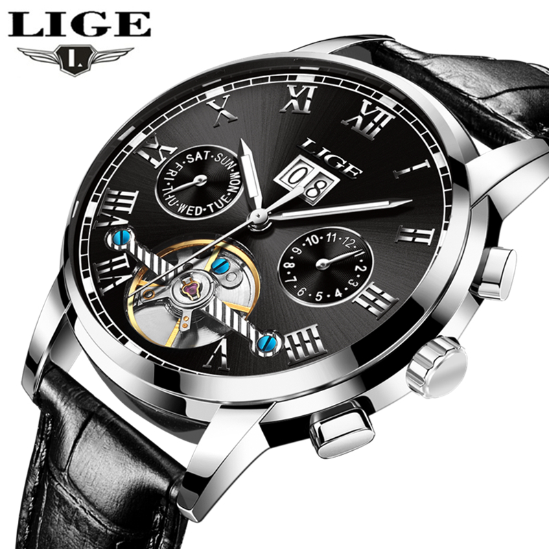 цена на LIGE Waterproof Automatic Mechanical Watch Men Leather Business Mens Watches Top Brand Luxury Sports Watches Relogio Masculino