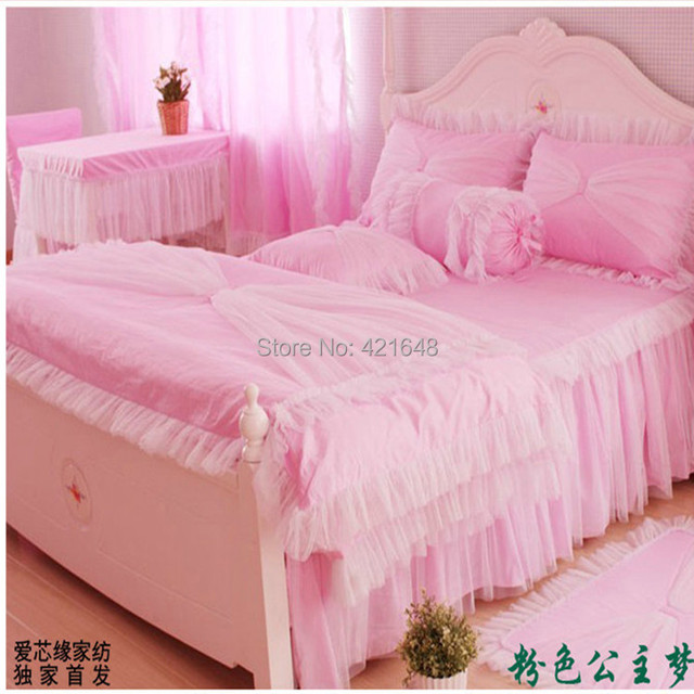 Free shipping via Fedex!Pink lace Korean princess bedding set 3/4pcs for girls twin full queen size bed skirt  ruffle bed set