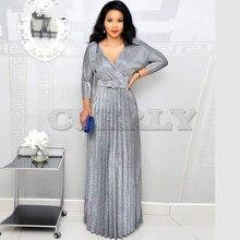 цены CUERLY Bronzing Elegant Pleated Dress Women Shiny DeepV Neck Long Sleeve Floor-Length Dress Vintage High Waist Sash Maxi Dress