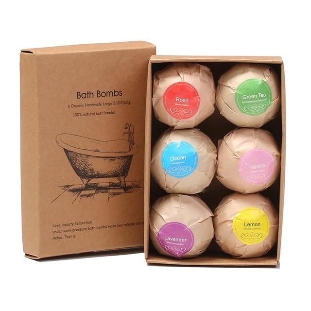Natural Bath Bombs Bubble Bath products Essential Oil Handmade SPA Stress Relief Exfoliating Mint Lavender Rose Flavor 6pcs/box 2