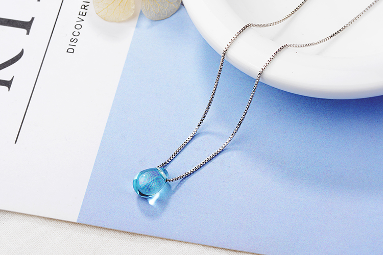 Anenjery Literary Artificial Blue Crystal Water Drop Necklace 925 Sterling Silver Clavicle Chain Necklace For Women Girl S-N292 11