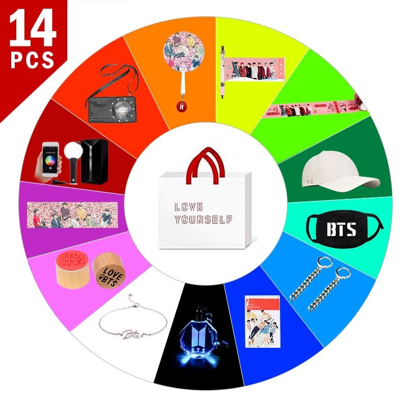 SGDOLL KPOP 14pcs/set Surprise Fans Gift Lightstick ARMY BOMB BTS Ver 3 Bag  Sticker Bracelet Mask Hat Pen Hand Banner Keychain