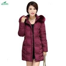 Зима толстые хлопка куртка женщин Средней Длины Корейский капюшоном меховой воротник капюшоном Тонкий женский хлопок Верхняя одежда OKXGNZ Q914