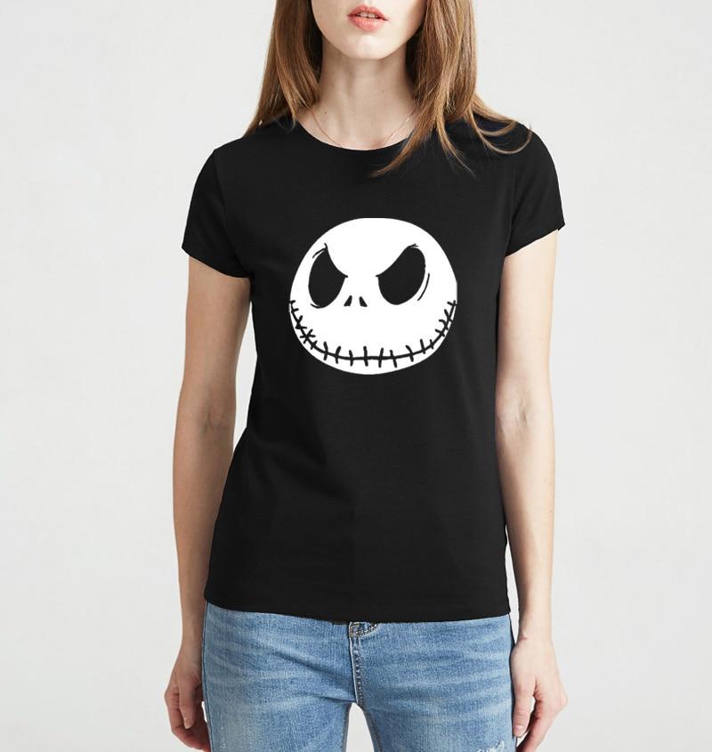 2017 Summer Jack Skellington kpop Smile print t shirt Women brand tops harajuku tee shirt funny angel casual femme black white
