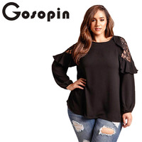 Gosopin T Shirt Women Long Sleeve Plus Size Lace Spring Cold Shoulder Red Female T Shirts