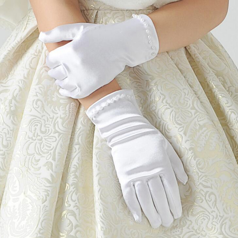 Kids Gift White Elastic Girls Formal Etiquette Gloves Pearl Short Lace Bow Halloween Christmas Children Princess Dance Glove G64