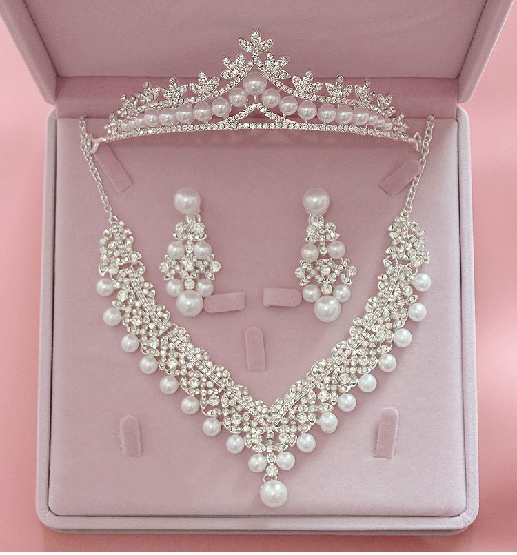 Magnificent Pearl Wedding Bridal Jewelry Sets Women Bride Wedding Party Jewelry Accessories Crystal Tiara Crown Earring Necklace