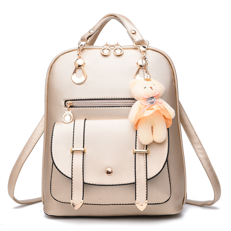94016bdc725 Student Preppy Style Rose Black Blue Brown Backpack with Doll Pendant School  bags Made By PU Leather for Teenager Girls