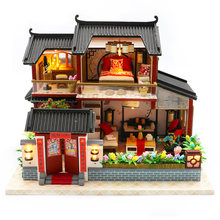Doll House Chinese Style Hotel Miniature Dollhouse Assembly Kit Toy Wooden Retro Shop Furniture House Toys For Children No Cov(China)