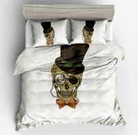 Modern Mystery white Blue black Hat Skull European style Duvet Cover Pillow case twin full queen king size with good Bedding Set