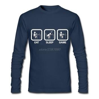 Eat Sleep Game-versión PC camisetas divertidas nuevas para Hombre Camisetas Camiseta con cuello redondo crear Crew Neck camisa masculina