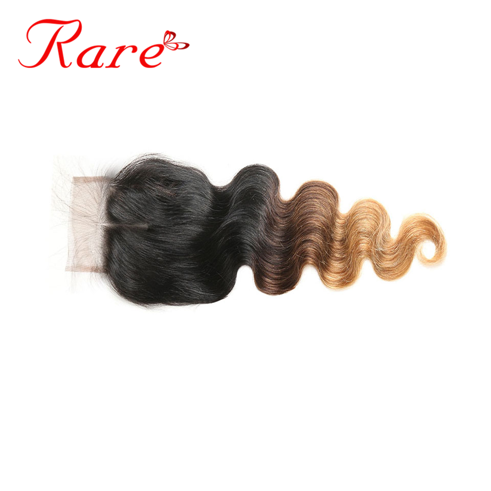 Ombre Brazilian Body Wave 4*4 Swiss Lace Closure 8-22 Inches Free/Three/Middle Part #1B/4/27 Rare Hair 100% Human Non Remy Hair