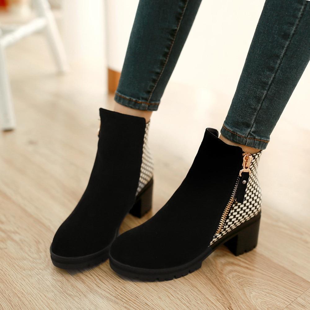 fashion ankle boots high heels chunky heel black blue
