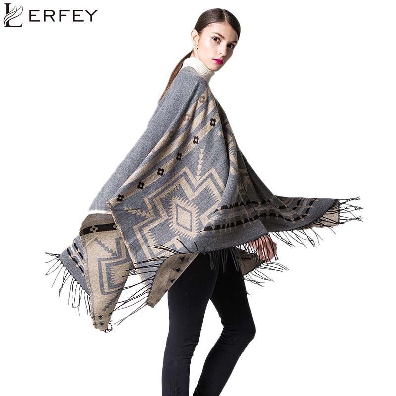 LERFEY Women Oversized Sweater Cardigan Knitted Cardigan Geometric Cape Blanket Poncho Casual Warm Autumn Tassel Shawl