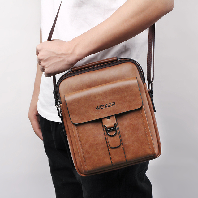 WEIXIER Messenger Bags 2019 PU Leather Men Designer High Quality New Fashion Shoulder Bag Casual Zipper Office Messenger Bags