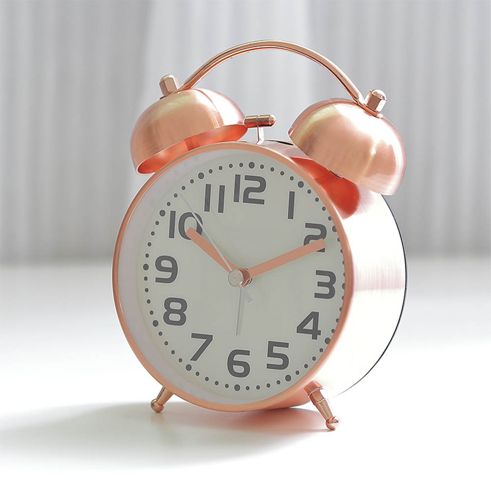 Retro Ringtones Student Snooze Alarm Clock Fashion Rose Gold Desktop Clock Child Bedroom Mute Luminous Alarm Clock Metal