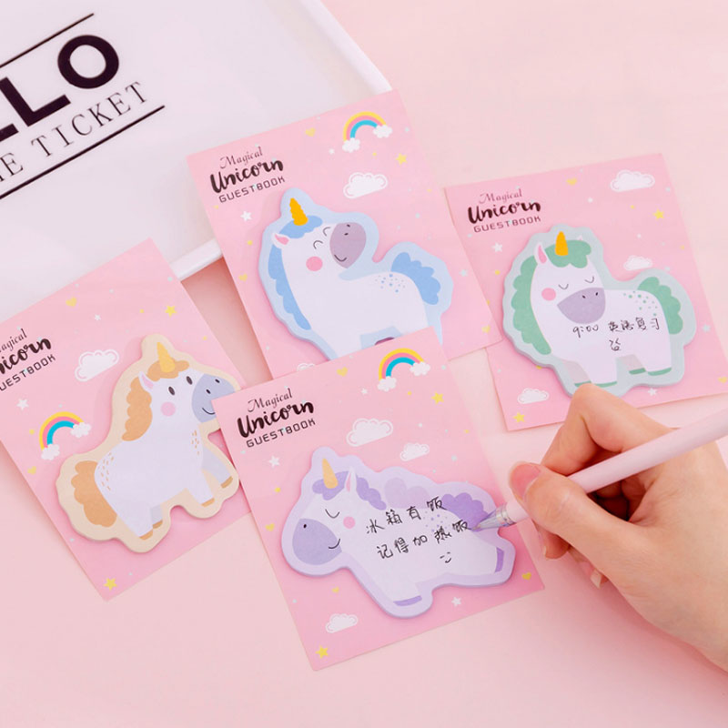 30 Sheets Creative Pink Girl Unicorn Kawaii Memo Pad Sticker Portable Message Stickers Pad Sticky Diy Office School Stationery