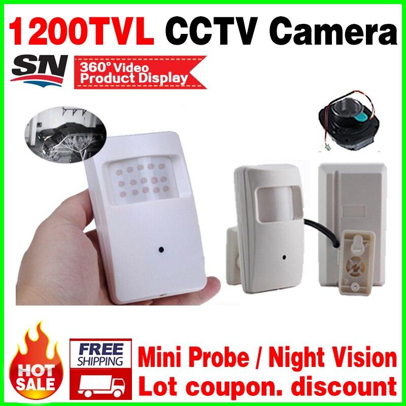 Nouveau cône Nuit Vision 20 m Sonde Infrarouge ahdl HD mini caméra 1/3 CMOS 1200TVL 18led CCTV Sécurité Surveillance Couleur 3.7mm lentille