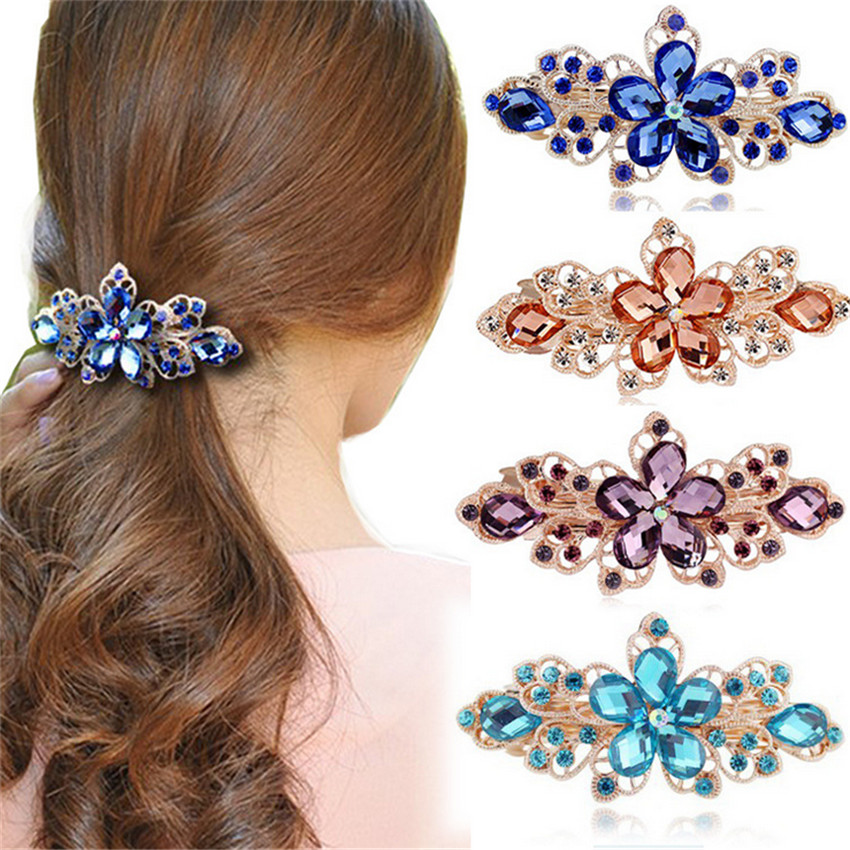 Haimeiakng Rhinestone Flower Crown Hair Clip Headwear Bridal Wedding Hair Accessories Crystal Hairpins for Women Headdress women headwear gift rhinestone hair claw butterfly flower hair clip 5 5cm long middle size bow hair accessories for girls